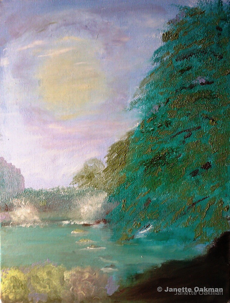 Stepping Stones - Reversable Picture - Oil Painting A View by Janette Oakman