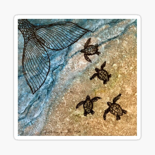 Baby Turtles with Mermaid Tail Sticker