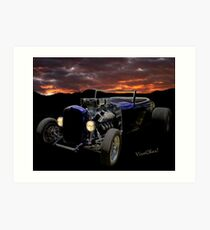 Low Boy Roadster Meets Morning's Rosy Glow Art Print
