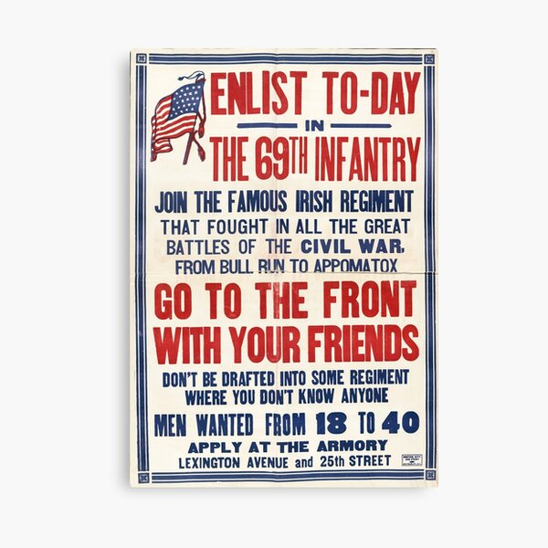 Enlist today in the 69th Infantry Canvas Print