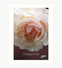 Romantic pink Rose Thinking of You card Art Print