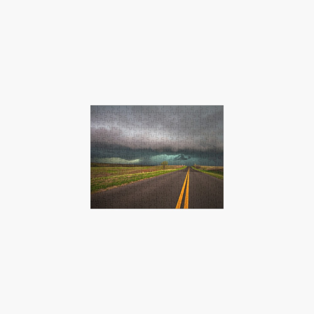 On the Road - Highway Leads Into Intense Storm in Oklahoma Jigsaw Puzzle