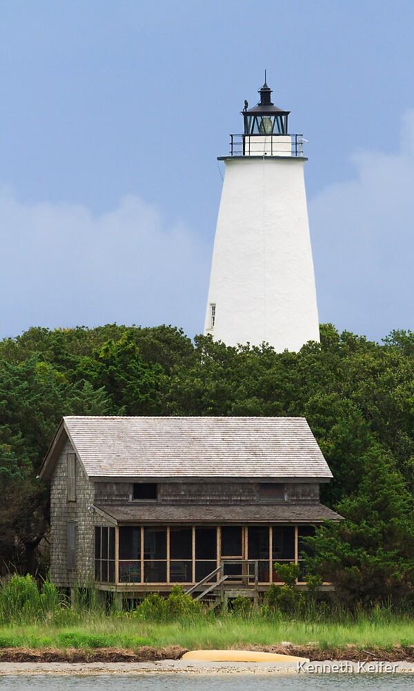 Ocracoke Light and Beach House by Kenneth Keifer