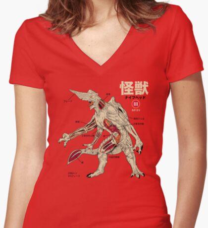 Kaiju Anatomy Women's Fitted V-Neck T-Shirt