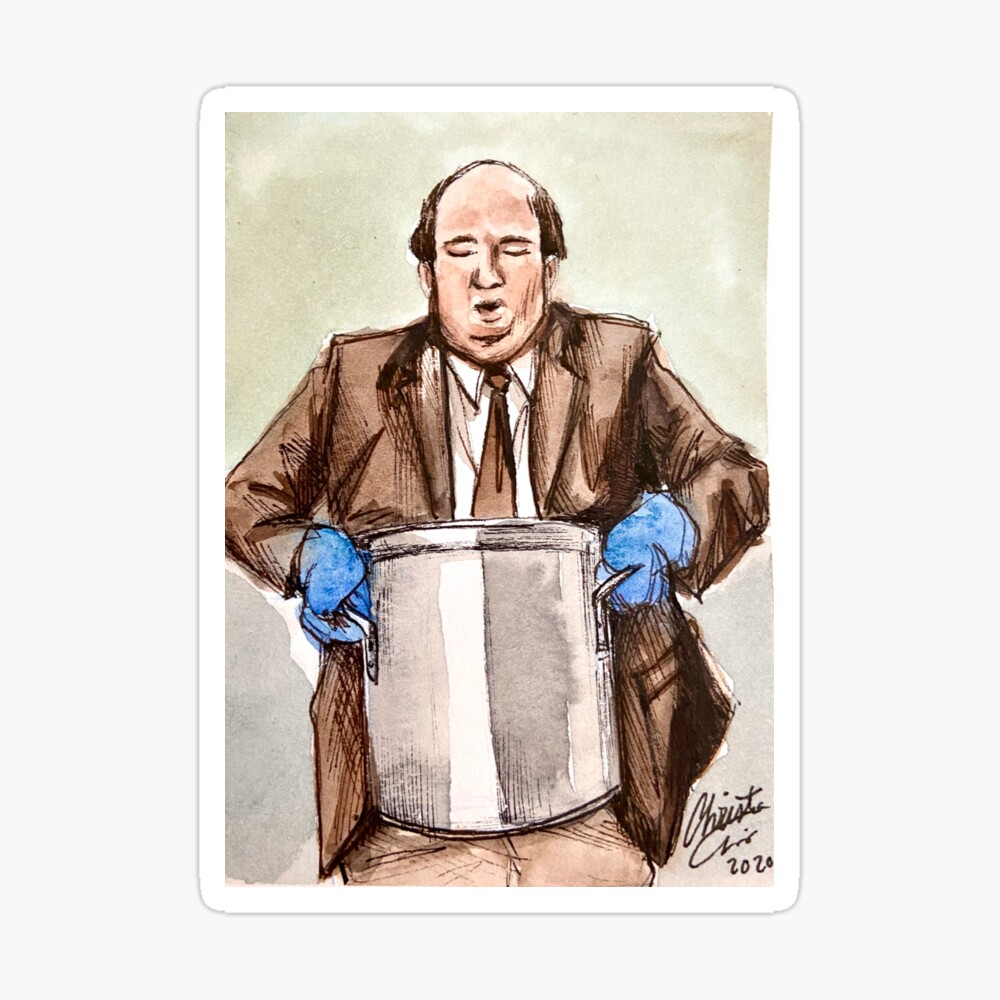 The Office Sketch Of Kevin Malone Spilling Famous Chili Recipe Funny Scene Tv Show Fanartin Meme Watercolor Metal Print By Bearalpha Redbubble
