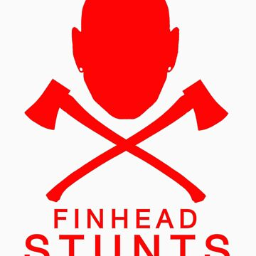 FinheadStuntsLogoRed/Silveroutline by nellie