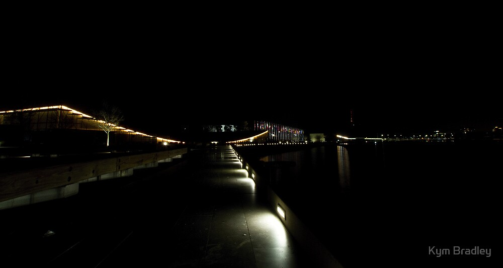 Canberra  Down Lake Burley Griffin At Night by Kym Bradley