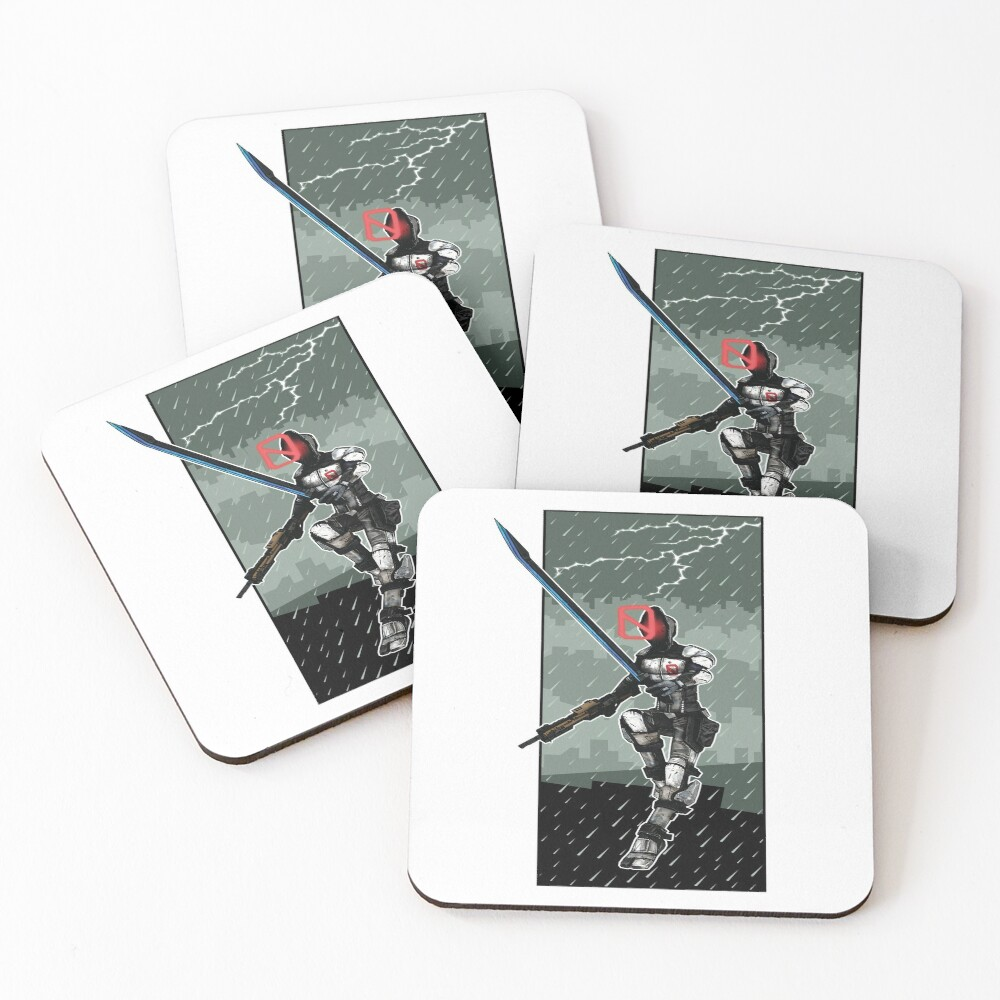 Zer0 The Assassin Borderlands Lighting And Rain Coasters (Set of 4)