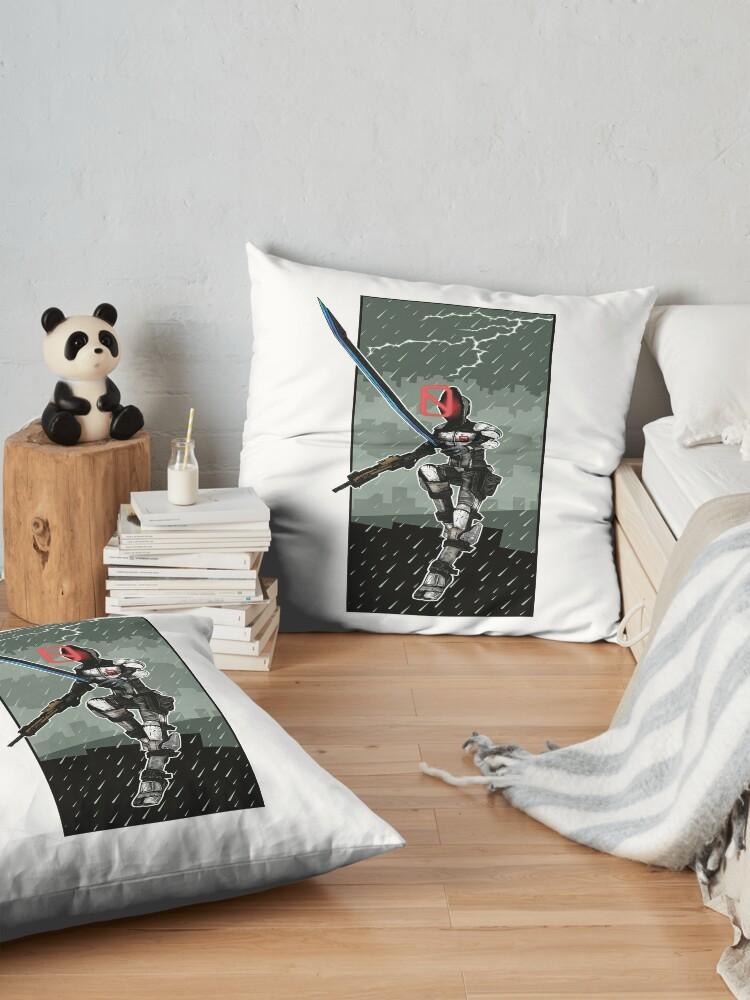 Alternate view of Zer0 The Assassin Borderlands Lighting And Rain Floor Pillow