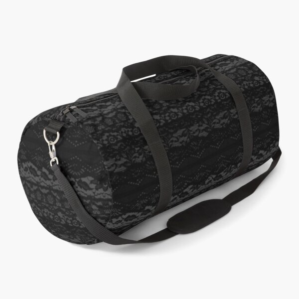 Black Lace Print Duffle Bag