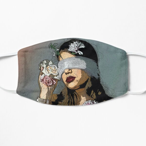 Blindfolded girl with flowers Flat Mask