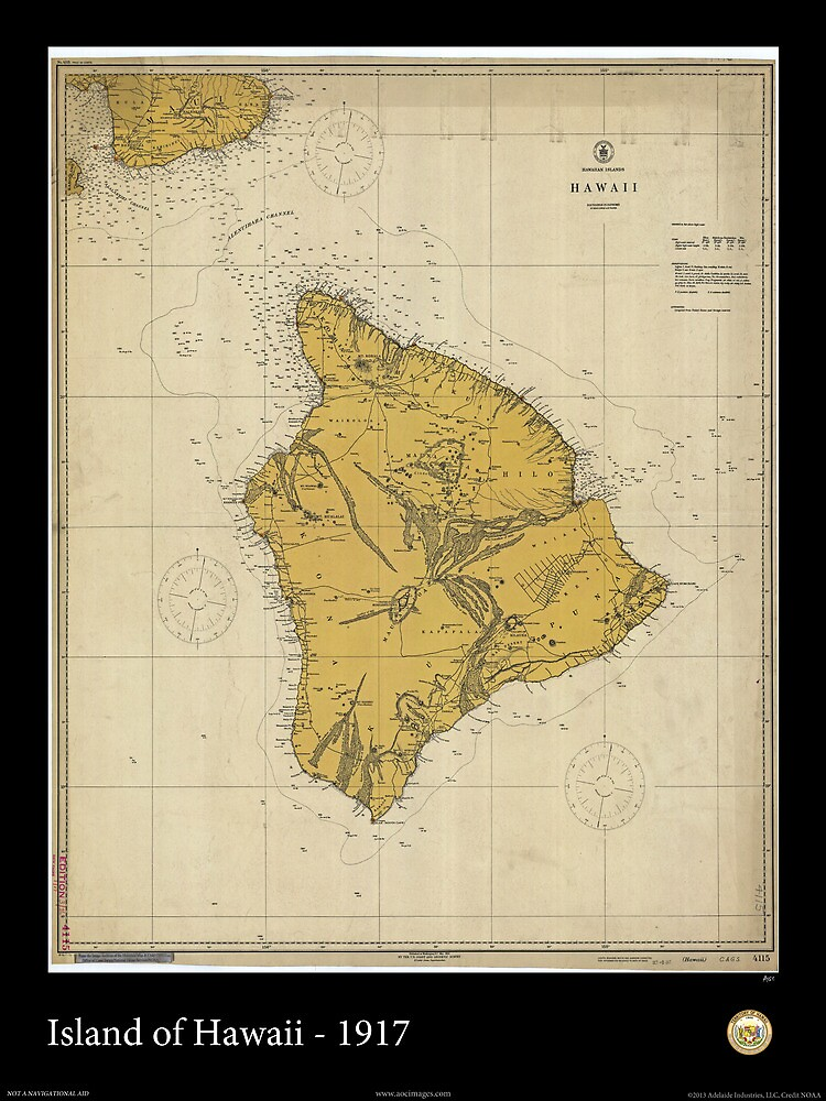 Vintage Print of the Island of Hawaii - 1917 by aocimages