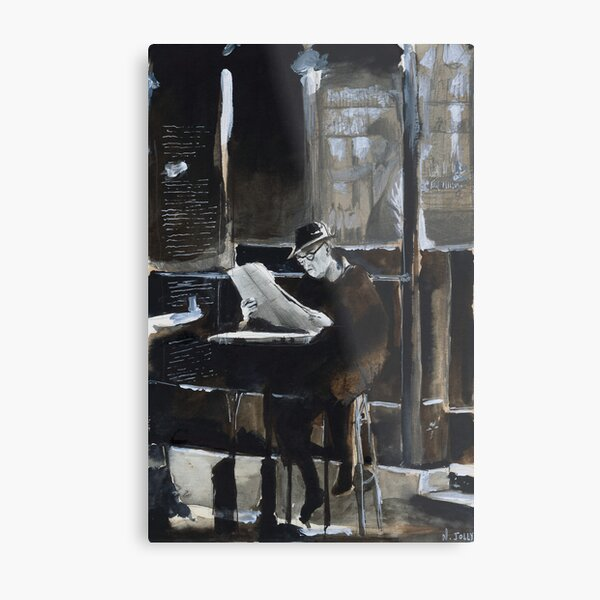 The old man with newspaper - Watercolor Metal Print