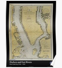 Vintage Print of the Hudson and East Rivers - 1929 Poster