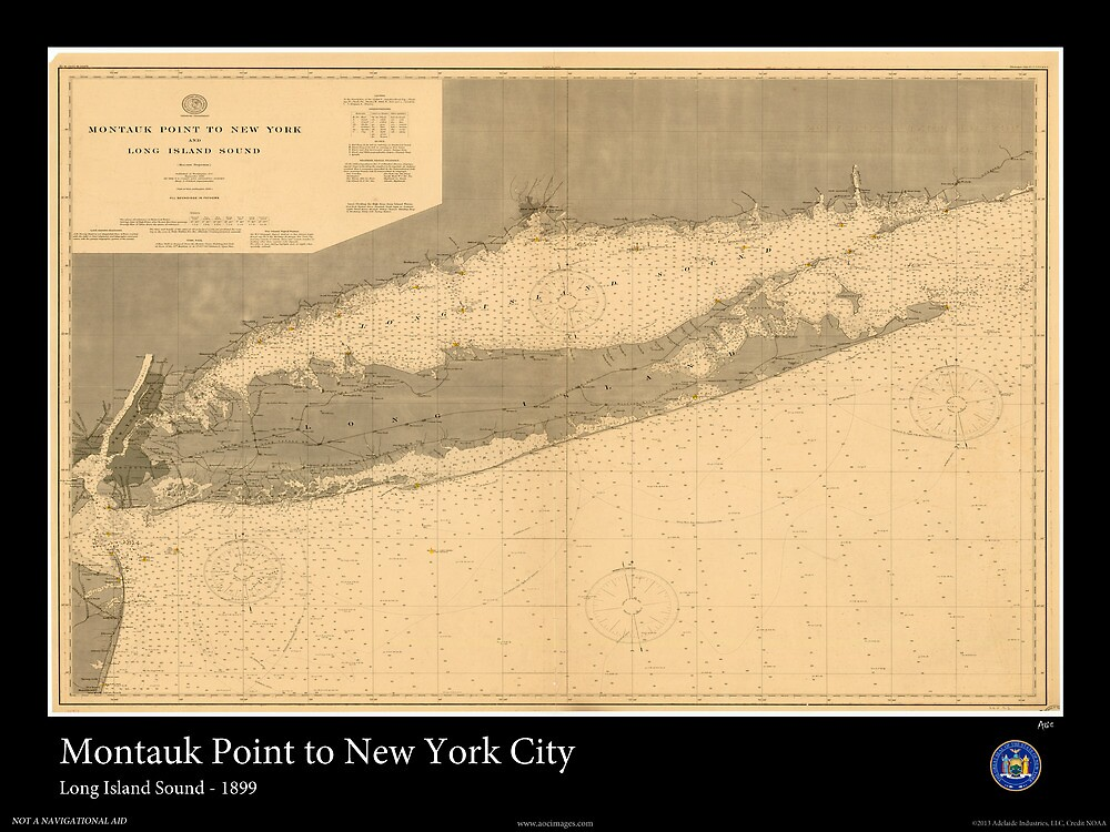 Vintage Print of Long Island Sound -1899 by aocimages