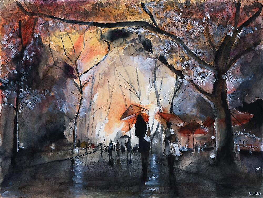 Autumn rain - Watercolor by nicolasjolly