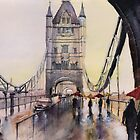 After the rain - Londres - Watercolor by nicolasjolly