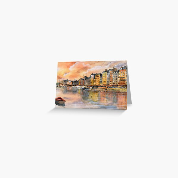 Sunset over Honfleur - Watercolor Greeting Card