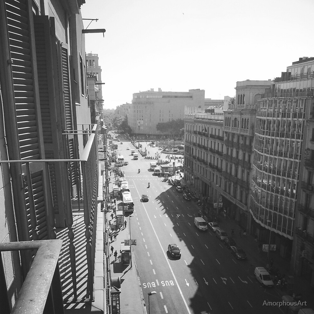 Black and White Barcelona Street by AmorphousArt