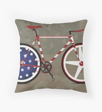 I Love My American  Bike Throw Pillow