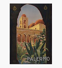 'Palermo' Vintage Travel Poster (Reproduction) Photographic Print