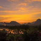 Burning Sky over the Mountains by MichaelDarn