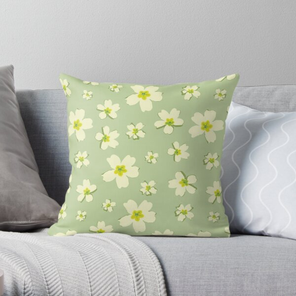 Portuguese Flowers Pattern - Green Throw Pillow