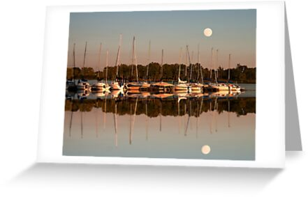 Reflecting sailboats sundown moon by Randy Branham