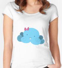 Cute Blue Bucktooth Octopus Women's Fitted Scoop T-Shirt