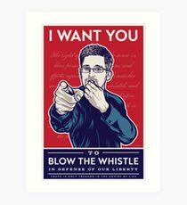 Edward Snowden I Want You Art Print