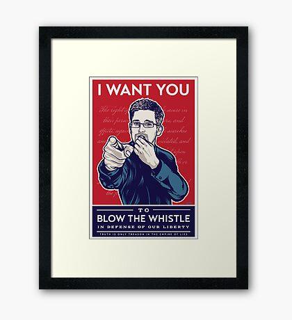 Edward Snowden I Want You Framed Print