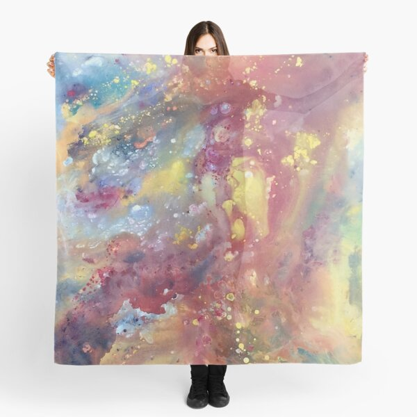 Abstract Galaxy Painting in Red, Yellow, and Rainbow Scarf