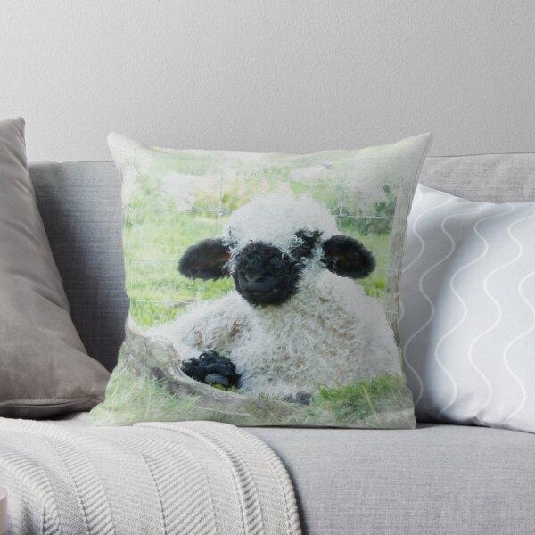 Valais Blacknose Sheep Watercolour Photograph. Throw Pillow