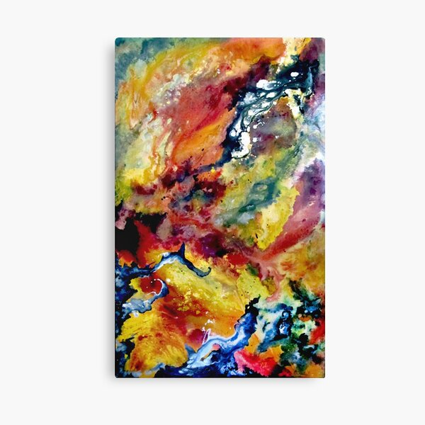 Abstract Galaxy Painting in Red, Yellow, Black, and White Canvas Print