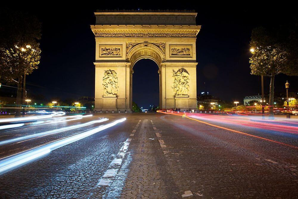 Arc de Triomphe at Night by CJ B