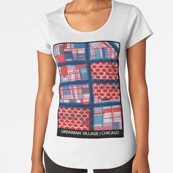 Ukrainian Village (Blue), Chicago Premium Scoop T-Shirt