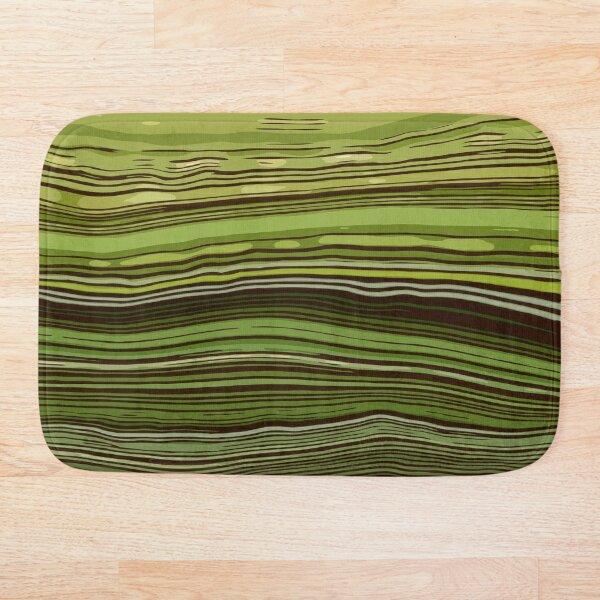 Watercolor marble green Amemones and Greenery Mask Bath Mat