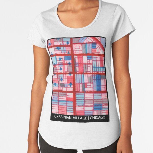 Ukrainian Village (Red), Chicago Premium Scoop T-Shirt