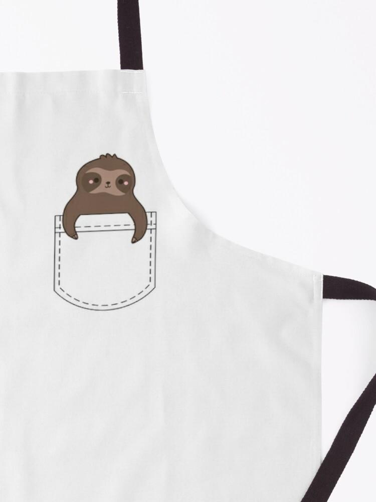 Alternate view of Sloth Cute Kawaii Pocket Sloth Apron
