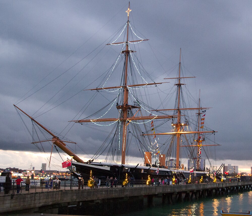 HMS Warrior at Christmas by Kevin Cartwright