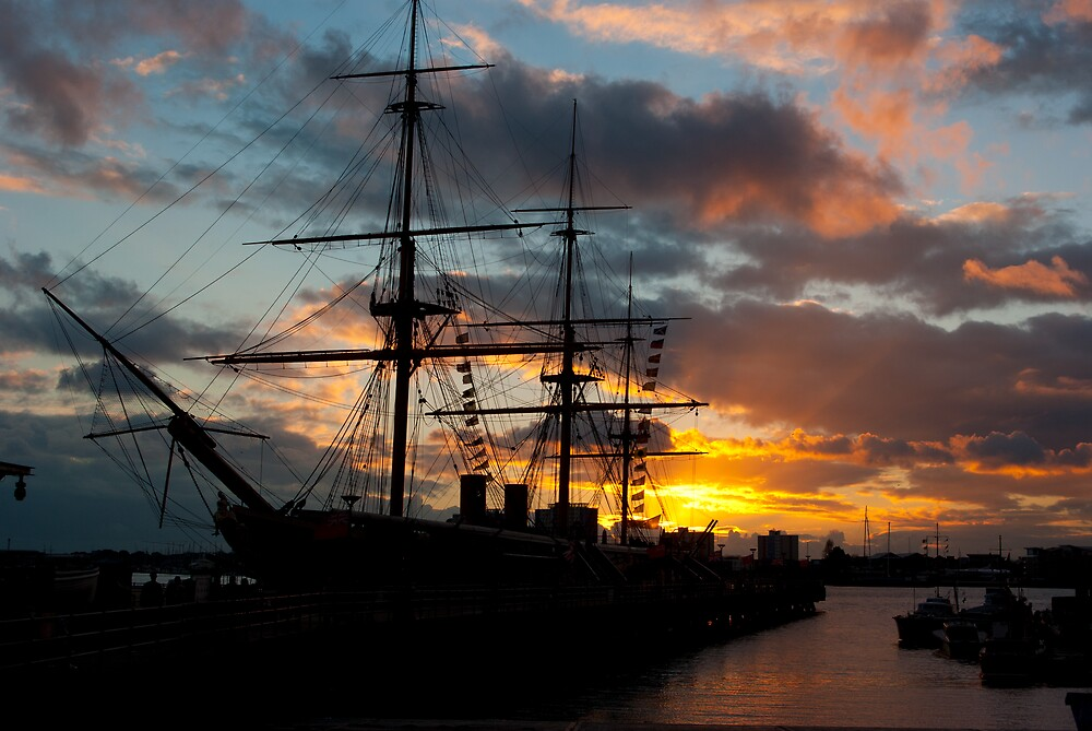 HMS Warrior at Sunset by Kevin Cartwright