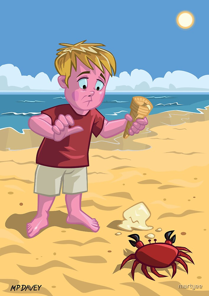 cartoon boy with crab on beach by martyee