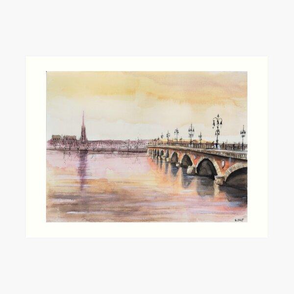 Le pont de pierre - Bordeaux - Watercolor Art Print