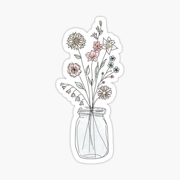 Flores en tarro de masón Pegatina