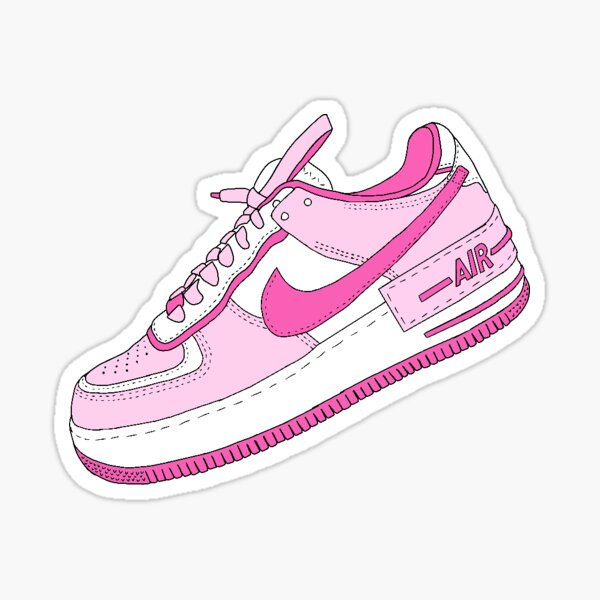 Sneaker rose et blanc Sticker