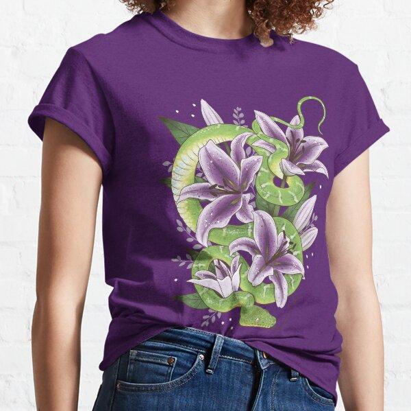 Emerald Tree Boa with Purple Stargazer Lilies Classic T-Shirt