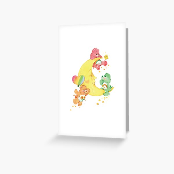 CARE CLASSIC BEARS cheer wish friend bear 90S 80S RAINBOW Y2K 2000S nostalgia print Greeting Card