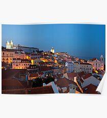 Lisbon City Lights Panoramic Alfama View Poster