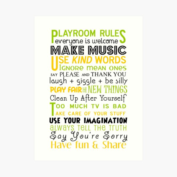 Playroom Rules Subway Art Poster Art Print