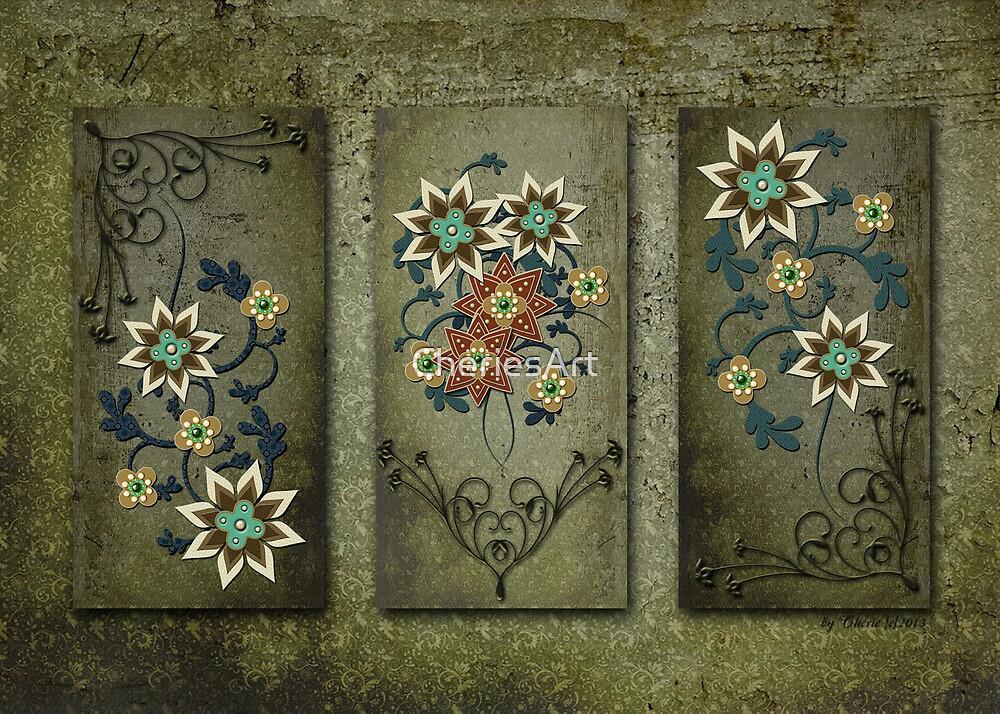 Floral Grunge Triptych Print by CheriesArt